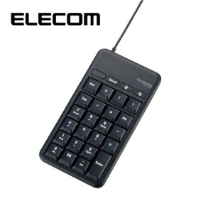 エレコム TK-TCM015BK 有線テンキーボード/Lサイズ/メンブレン/高耐久/USBハブ付/ホットキー付/ブラック (TKTCM015BK)|dentarou