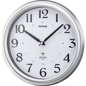 【納期目安:1週間】MAG W-649-SM-Z 電波掛時計「アストル」(銀メタリック) (W649SMZ)|dentarou