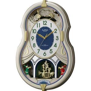 リズム時計 4MN543RH18 電波時計 掛け時計 30曲入り 飾り振り子付き スモールワールドカラーズ(シャンペンゴールド)|dentarou