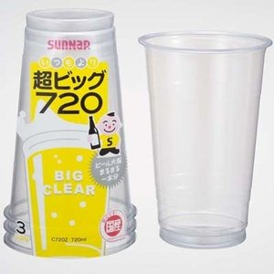 <title>サンナップ 4901627030721 日本製 プラカップ 720ml 3個入 超ビック クリアカップ 150個セット</title>