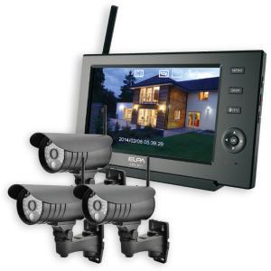 ELPA 防犯カメラ ワイヤレス (無線) セット カメラ3台+モニター1台 スマホ対応 CMS-7...