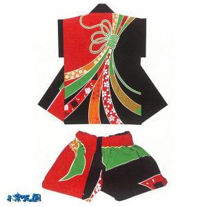 子供袖無し半纏 半被&パンツセット(赤/黒) =お祭り 太鼓衣装 大祭 祭禮 イベント= (73386)|dento-wako