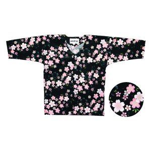 鯉口シャツ(黒) 子供用 =お祭り衣装 大祭 祭禮 神輿 イベント= dento-wako