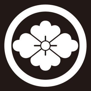 貼り紋 丸に花菱(シールタイプ6枚1組) =着物 羽織 家紋 紋付=|dento-wako