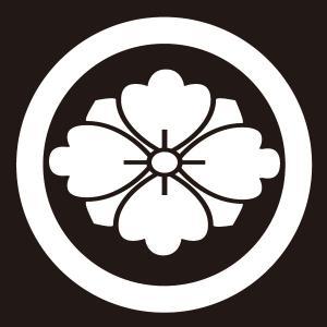 貼り紋 丸に剣花菱(シールタイプ6枚1組) =着物 羽織 家紋 紋付=|dento-wako
