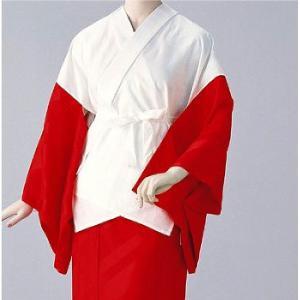 半襦袢 紋綸子ちりめん(赤) =和装下着 舞踊 日本舞踊 民踊 新舞踊= dento-wako