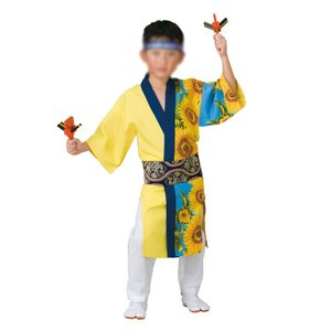 子供用よさこい長半纏 半天 袢天 法被 半被 =よさこい衣装 YOSAKOIソーラン よさこい祭り=|dento-wako