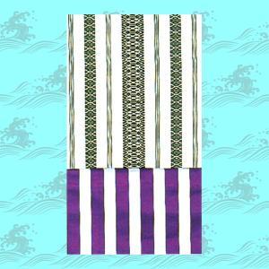 8寸献上白黒×縞白紫両面腹合せ帯 =舞踊 民踊 お揃い帯=|dento-wako
