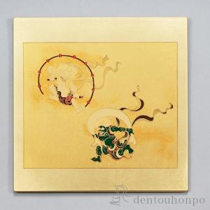■ マウスパッド 風神雷神 金 【 山中漆器 】  <仕様> ・ショップ品番:ymm0161 ・材質...