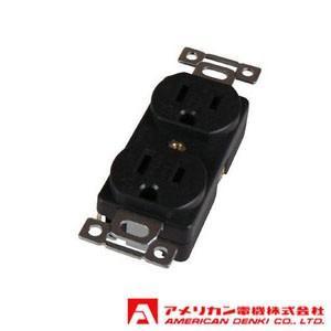 アメリカン電機 埋込コンセント 平刃形 (15A/接地形 2P/125V) 黒色 7110GD