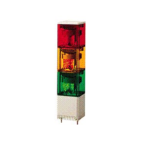 パトライト(PATLITE) LED小型積層回転灯 KESB-302赤黄緑3段 DC24V 82角 防滴 ブザー パトランプ 回転 赤黄緑 送料無料 denzai-land