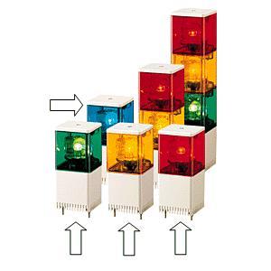 パトライト(PATLITE) 小型積層回転灯 KJS-101 1段 DC12V 82角 防滴(DC24V選択可) パトランプ 回転 赤色、黄色、緑色、青色 denzai-land