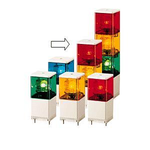 パトライト(PATLITE) 小型積層回転灯 KJSB-201 2段赤黄 DC12V 82角 防滴 ブザー(DC24V選択可) パトランプ 回転 赤黄 送料無料|denzai-land