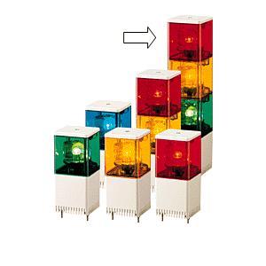 パトライト(PATLITE) 小型積層回転灯 KJSB-301 3段赤黄緑 DC12V 82角 防滴 ブザー(DC24V選択可) パトランプ 回転 赤黄緑 送料無料|denzai-land