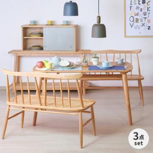 ダイニングセット 3点 ベンチ テーブル ノルン (IS)|denzo