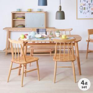 ダイニングセット 4点 ベンチ テーブル 椅子 ノルン (IS) denzo