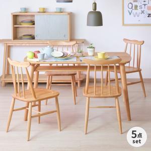 ダイニングセット 5点 テーブル チェア 北欧 木製 ノルン (IS)|denzo