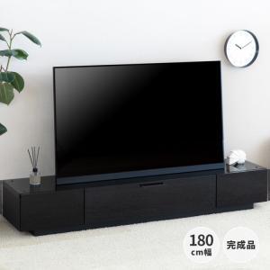 テレビボード テレビ台 大型TV 幅180 ローボード ガラス天板 ロータイプ オープンレール フルスライドレール ソフトダウンステー シンプル 黒  DENVER|denzo