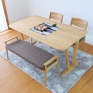 無垢 ダイニング 4点セット テーブル150 ダイニングチェア ベンチ  サワー (IS)|denzo