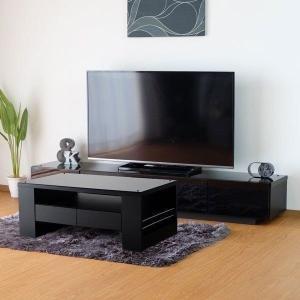 幅180 テレビ台 テーブル ガラス ブラック 2点セット デンバー(IS)|denzo