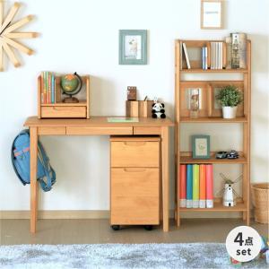 学習机 学習デスク 勉強机 4点 セット 机 木製 子供 シンプル スリム エリスキッズ ISSEIKI|denzo