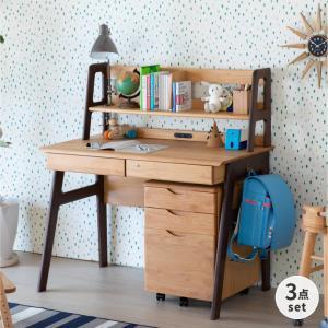 学習机 勉強机 学習デスク キッズ 机 つくえ 幅105 木製 子供 おすすめ シンプル 送料無料 3点セット ワゴン 上棚 エクリュ105(IS)|denzo