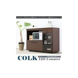 6/19までポイント最大31倍!キッチンカウンター ローボード 食器棚 コルク 120(GA)|denzo