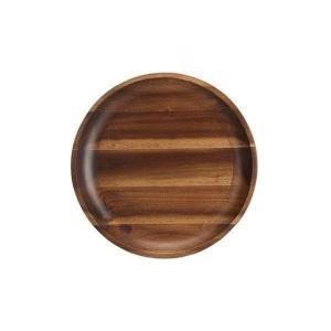 木製食器 おしゃれ トレー プレート アカシア材 ミディアムブラウン モダン Mサイズ ムートウ アカシア ラウンドディッシュ M (IS) denzo