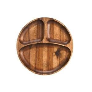木製食器 おしゃれ ワンプレート 仕切り付 プレート アカシア材 ミディアムブラウン モダン 丸型 ムートウ アカシア ラウンドプレート M (IS) denzo