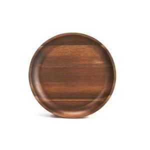 木製食器 おしゃれ プレート トレイ アカシア材 ミディアムブラウン モダン 丸型 円形 盛り付け皿 ムートウ アカシア ラウンドトレー M (IS) denzo