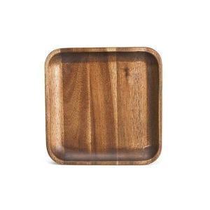 木製食器 おしゃれ プレート トレイ アカシア材 ミディアムブラウン モダン 角型 小皿 取り分け皿 ムートウ アカシア スクエアトレー S (IS) denzo