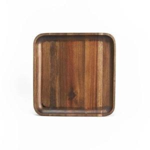 木製食器 おしゃれ プレート トレイ アカシア材 ミディアムブラウン モダン 角型 中皿 取り分け皿 ムートウ アカシア スクエアトレー M (IS) denzo