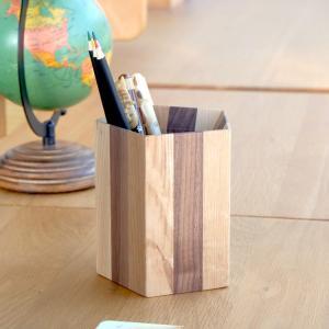 ペン立て 木製 おしゃれ 北欧 無垢 五角形 卓上 デコラ ペンスタンド ペンタゴンタイプ ISSEIKI|denzo
