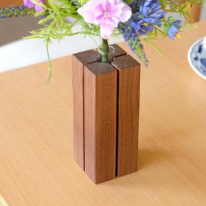 一輪挿し おしゃれ 小さい 木製 モダン シンプル スリット ウォルナット材 送料無料 デコラ 一輪ざし スリットタイプウォルナット ISSEIKI|denzo