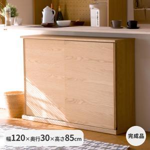 キッチンカウンター 木製 引き戸 木製天板 送料無料 コレント カウンター 幅120 奥行30 高さ85 (IS)|denzo