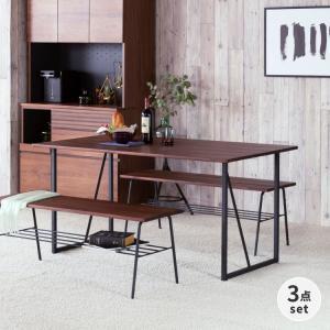 ダイニングテーブルセット 3点セット 4人掛け スチール 木製 インダストリアル おしゃれ リトル ダイニング3点セット ISSEIKI|denzo
