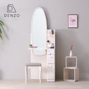 ドレッサー 鏡台 ホワイト カントリー ファンシー ルル 58幅 ドレッサー 姿見 ISSEIKI|denzo