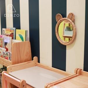 ミラー 鏡 壁掛け 動物 ネコ クマ ウサギ おしゃれ かわいい キッズルーム ギフト お祝い プレゼント HONEY RATTAN MIRROR|denzo