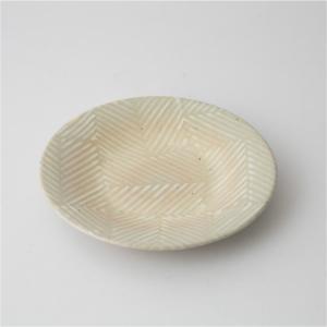 お皿 プレート 食器 陶器 取り皿 ヘリンボーン ダイニング テキスタイル ギフト 波佐見焼 aiyu ORIME Pヘリンボーン 四寸丸皿 ホワイト|denzo