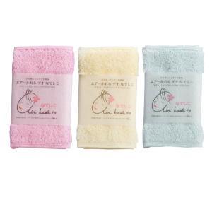 エアーかおる3枚セット 浅野撚糸 タオル ハンドタオル 洗面所 サックス 水色 なでしこ ピンク イエロー 黄色 エアーかおる デオなでしこ|denzo