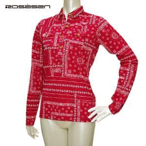 ロサーセン Rosasen レディース 春夏秋 プリント 鹿の子 長袖シャツ サイズ:40(M)|depot-044
