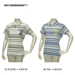 ロサーセン Rosasen レディース 春夏 UVケア 半袖 ボーダー パイル ポロシャツ サイズ42(L)|depot-044