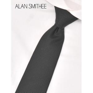 アランスミシー  ALAN SMITHEE/PINDOT ピンドット ブラック×ホワイト スクエアの織りで立体感 ふっくらワッフル調のシルク地ネクタイ MADE IN JAPANn|deradera