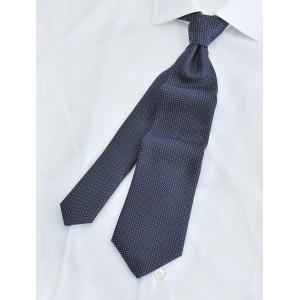 アランスミシー  ALAN SMITHEE/PINDOT ピンドット 濃紺 ネイビー×ホワイト スクエアの織りで立体感 ふっくらワッフル調のシルク地ネクタイ 日本製n|deradera
