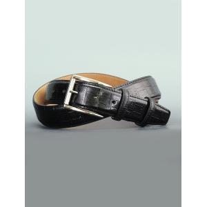 プレディビーノ  predibino ブラック 151201-1605man-blk同型 モダンな黒革 型押しクロコ くるくるバックル 2016年新作バージョン レザーベルト 35mm幅|deradera