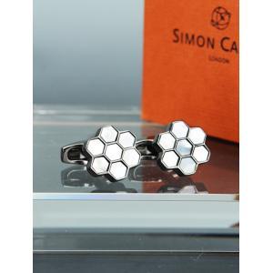 サイモンカーターSIMON CARTER ガンメタル グレーパール 六角形ヘキサゴンの集合体カフリン...