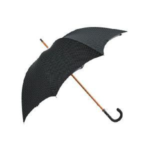 マリア フランチェスコ  ブラック&ホワイトドット 小玉の水玉模様も殿方風で美しい、革巻きハンドルのアンブレラ・長傘n deradera