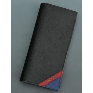 プラダ 長財布 PRADA NERO+FUOCO+BLUE ブラックをベースにブルーとレッドを織り交ぜたタフで高級感ある サフィアーノレザー メンズ|deradera