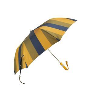 マリア フランチェスコ Maglia Francesco  ネイビー&イエロー&オリーブグリーン 色だけでなく織り模様も替えた匠技。ワイドストライプ柄折り畳み傘、カバー付 deradera