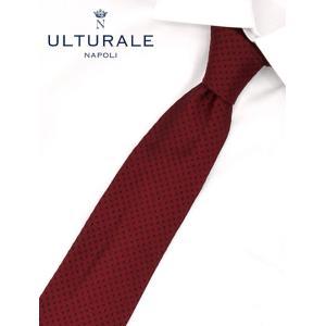 ウルトゥラーレ  ULTURALE ボルドーに濃紺の極小ドット織り 大剣7.5cmシルクネクタイ ナポリ イタリアn|deradera
